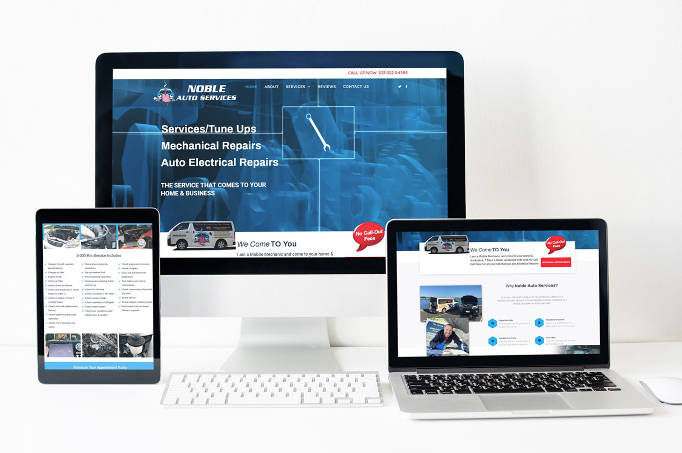 Noble Auto Services website