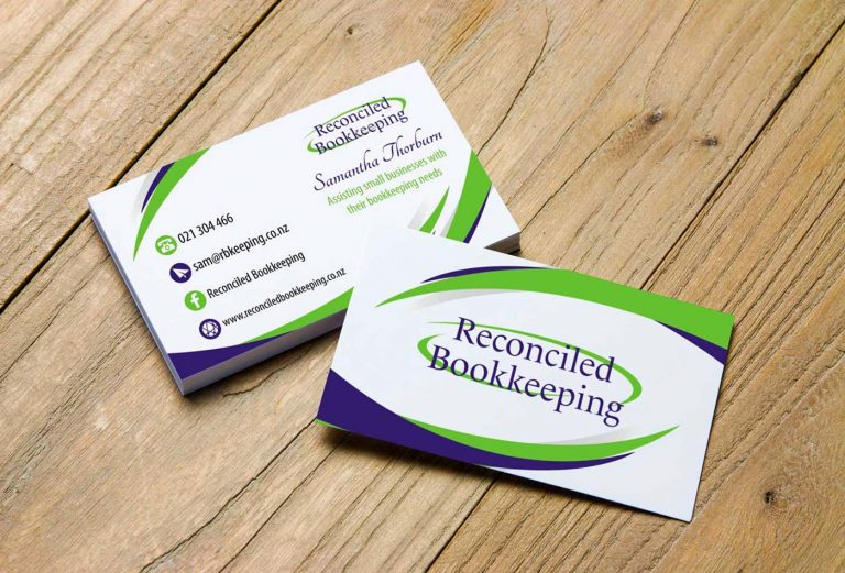 Reconciled Bookkeeping business card design